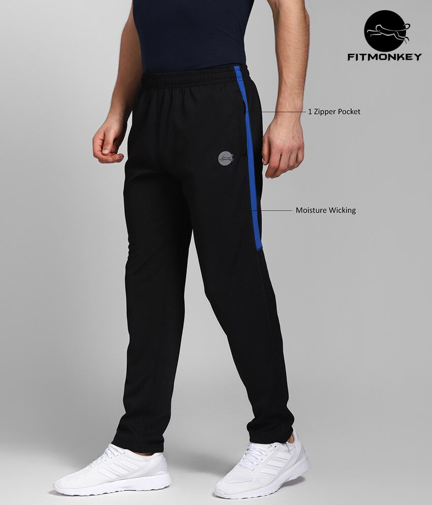 Black with Blue Contrast Polyester Trackpants by FITMonkey