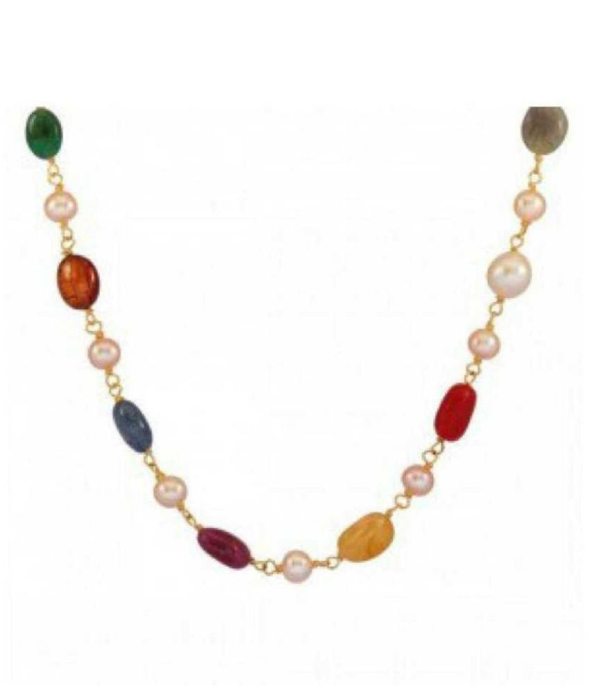 Lab Certified stone Navratna  Beads mala  Original & Precious Stone Mala For Unisex