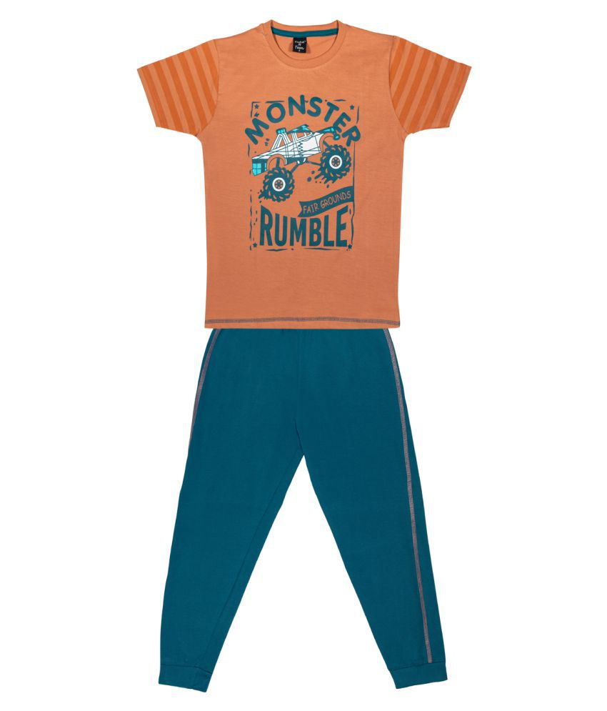 Todd N Teen Boys Cotton Casualwear, Nightwear, Loungewear With Full Pant 6 years (rust)