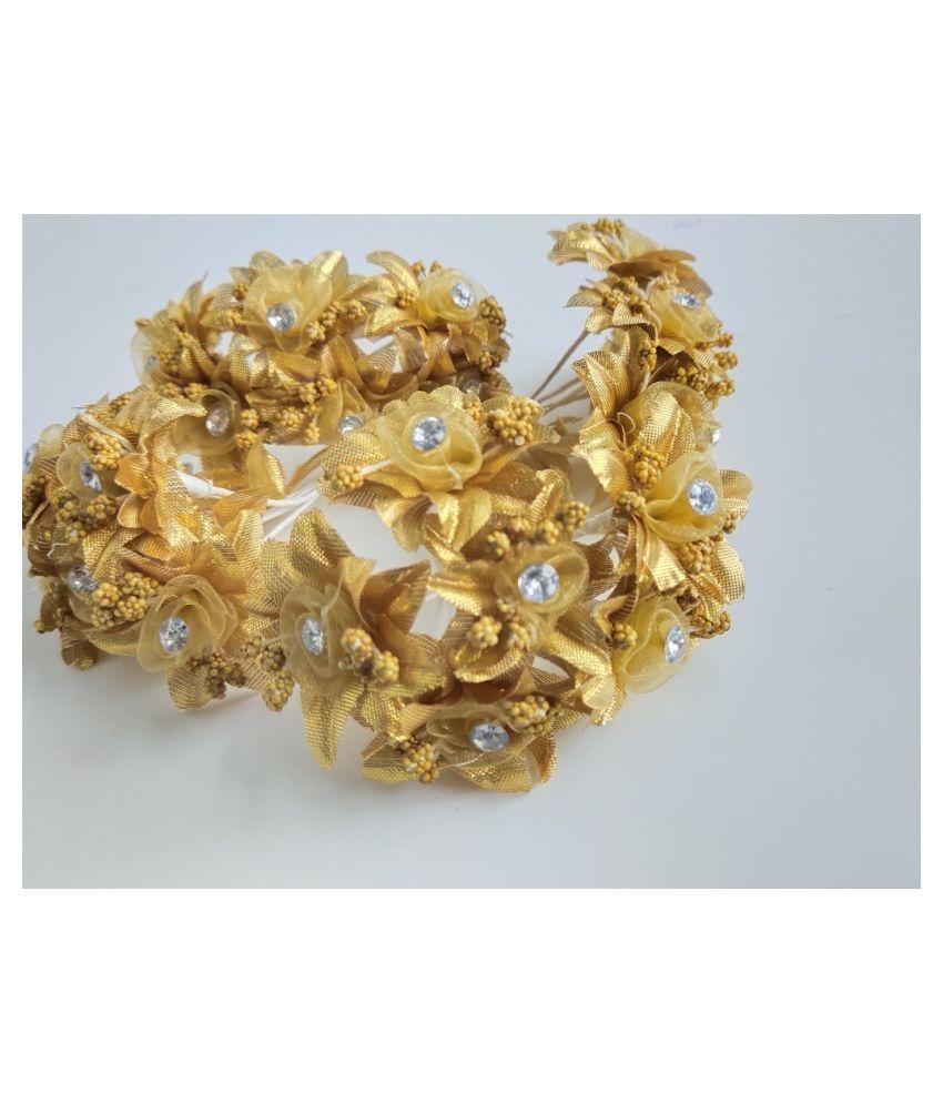 13pcs Golden Color Artificial Flowers for Diwali & Room Decoration