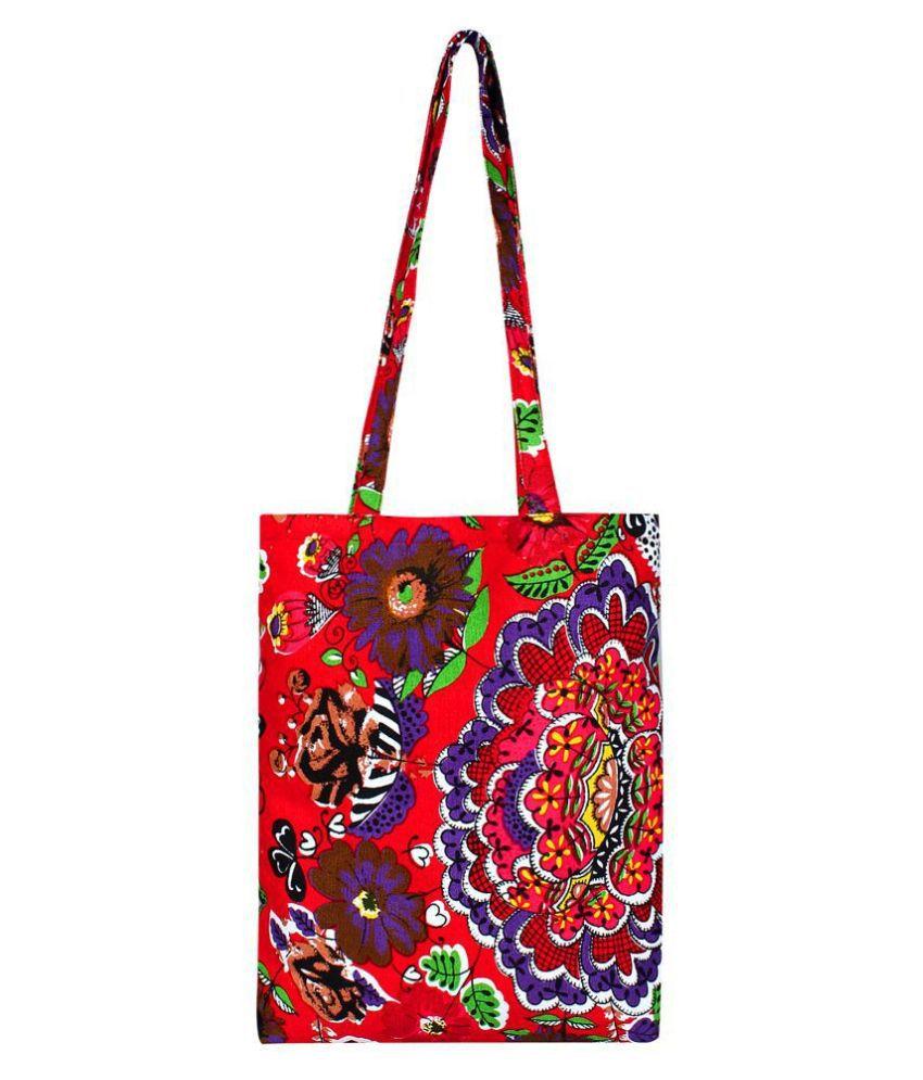 Anekaant Red Canvas Shoulder Bag