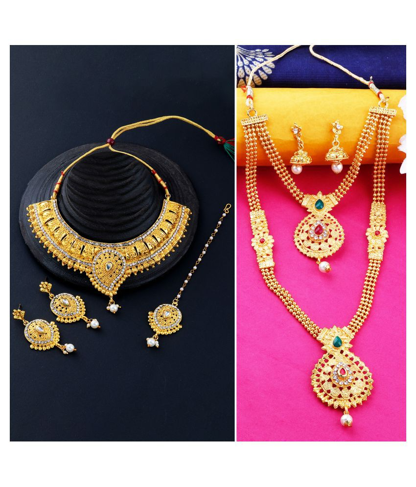 N M CREATION Alloy Golden Choker Traditional Gold Plated Necklace set Combo
