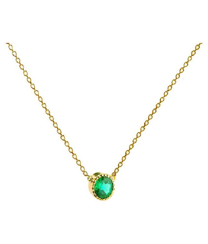 RATAN BAZAAR - 5.25 ratti stone Emerald Gold(Copper) Plated  Pandent  original & natural stone Emerald Pandent  for astrological purpose