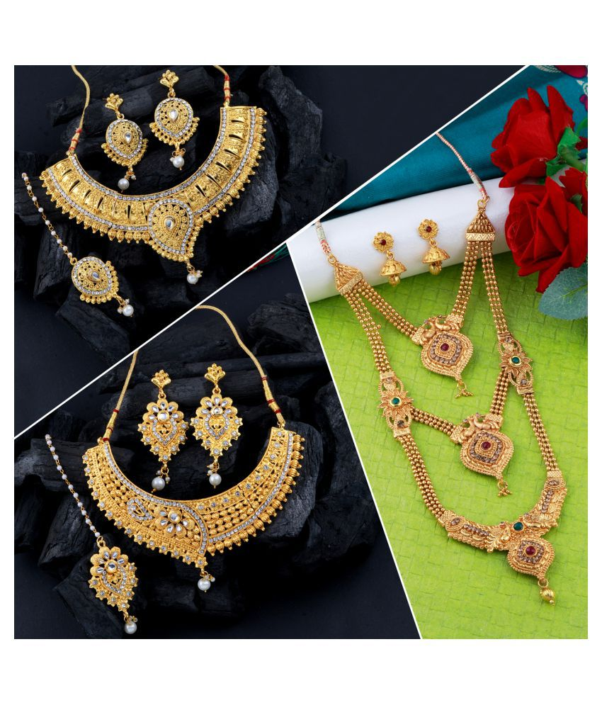 SHREENATHJI JEWELLERS Alloy Golden Contemporary Traditional Gold Plated Necklace set Combo