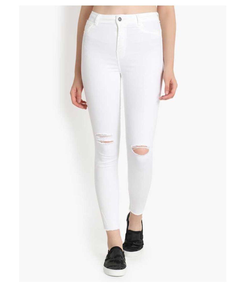 guti Cotton Lycra Jeans - White