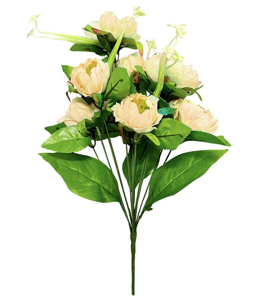 FNS Decor Beautifully Design Cream Defo Flower Bunch for Home Décor Assorted Assorted Artificial Flowers - Pack of 1