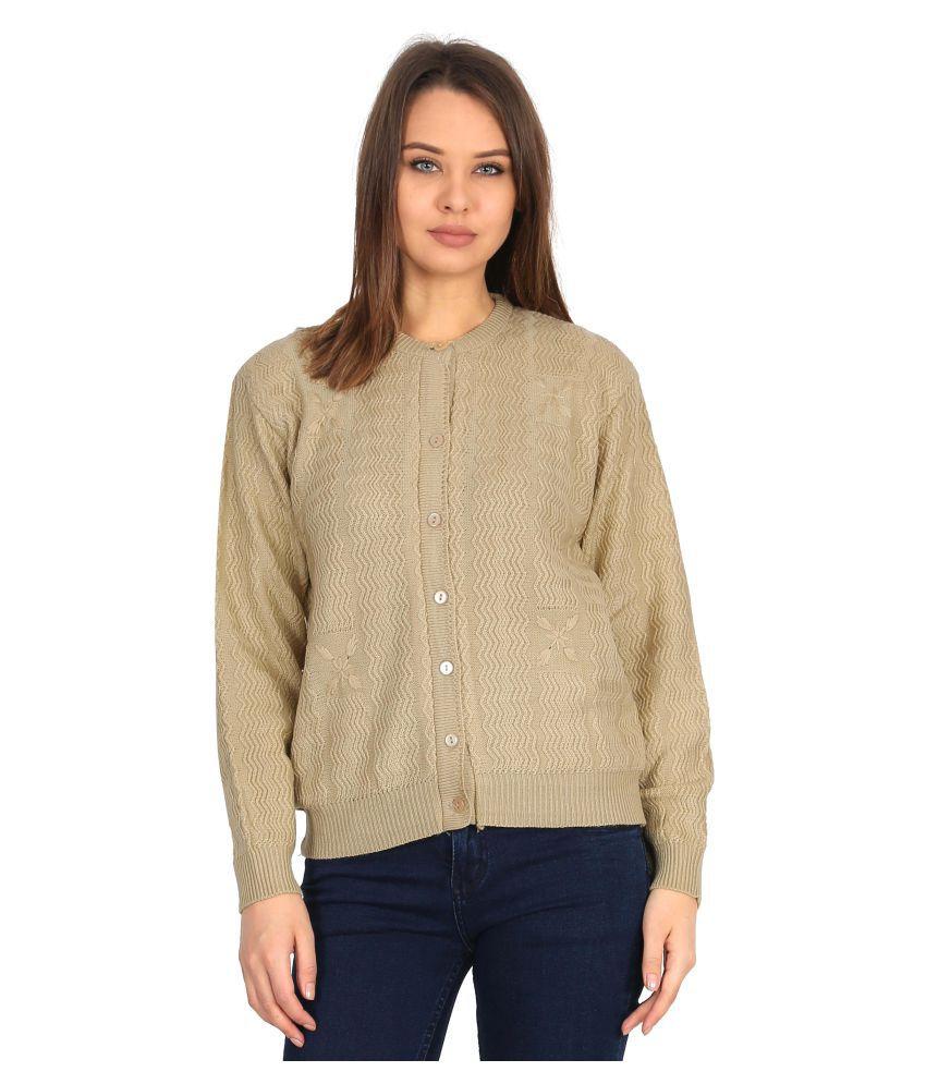 Urban Studio Woollen Beige Non Zippered Sweatshirt