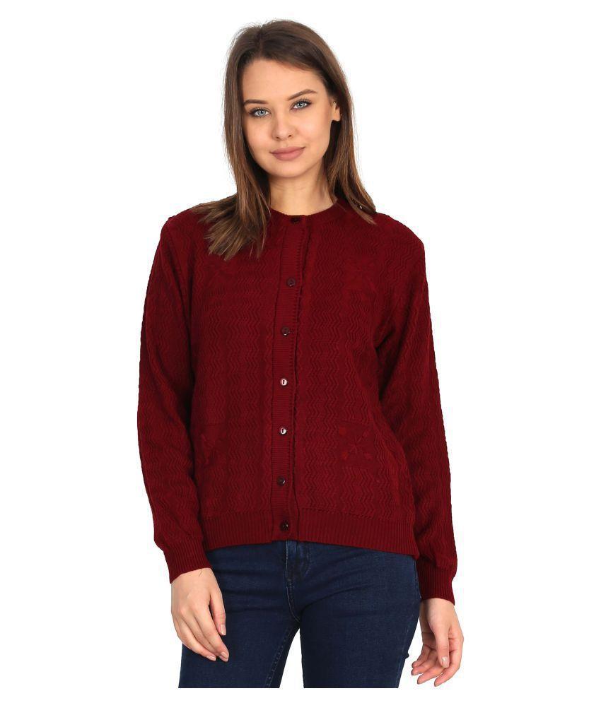 Urban Studio Woollen Maroon Non Zippered Sweatshirt