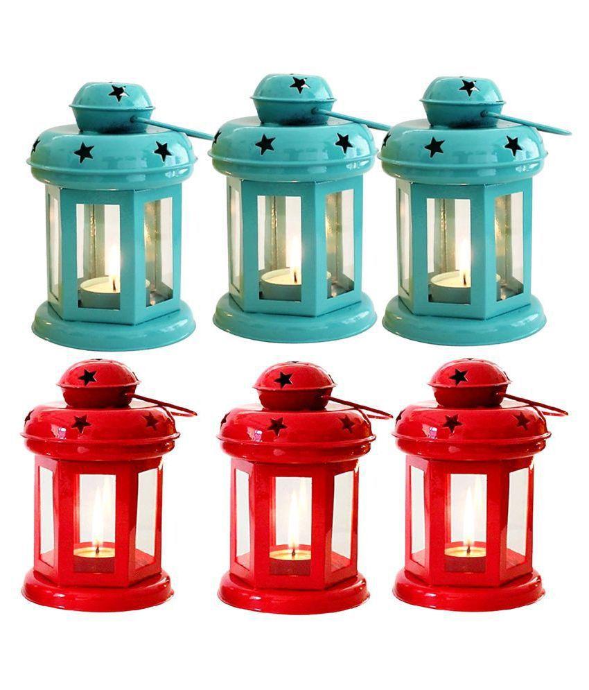 designer international Decorative Lantern/Lamp with t-Light Candle, Hanging Lanterns 15 - Pack of 6