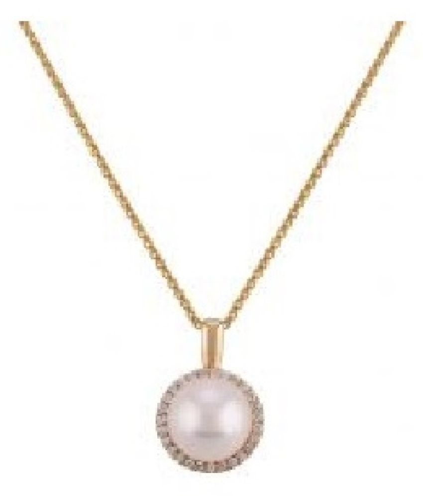 7.25 ratti Gold Plated  pearl Pendant without chain for unisex by Kundli Gems\n