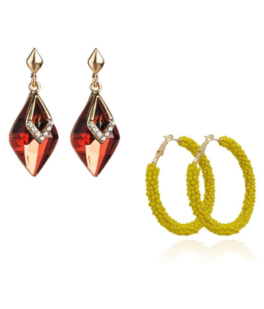 Combo of Crystal and Beads dangle Hoop Earings