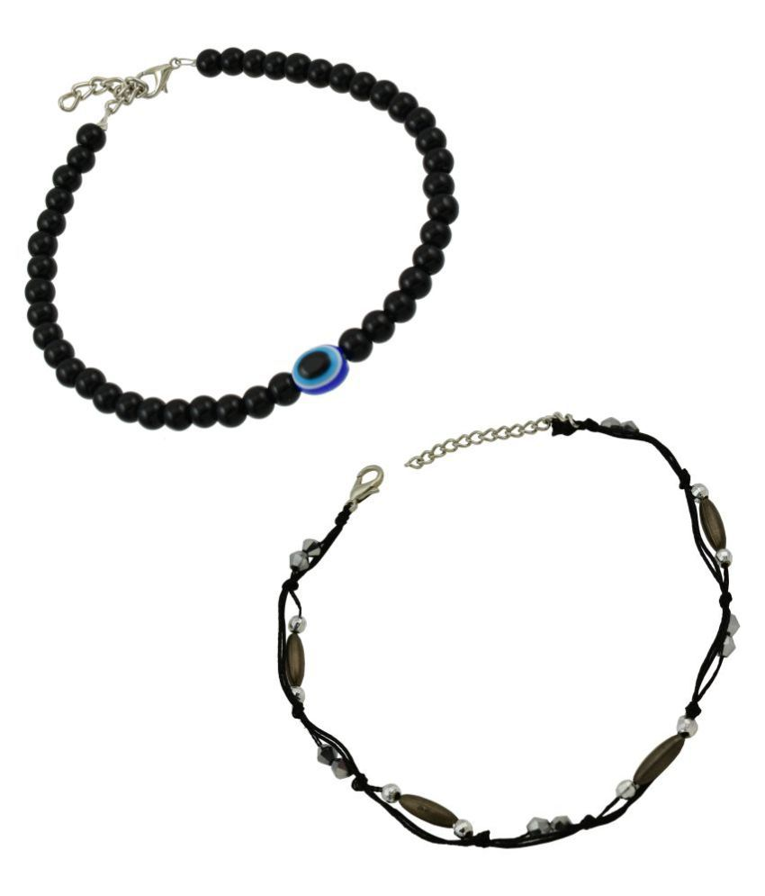 High Trendz Evil Eye Bead And Black Thread Single Anklets Combo Pack for Women and Girls (2 Single Anklets)
