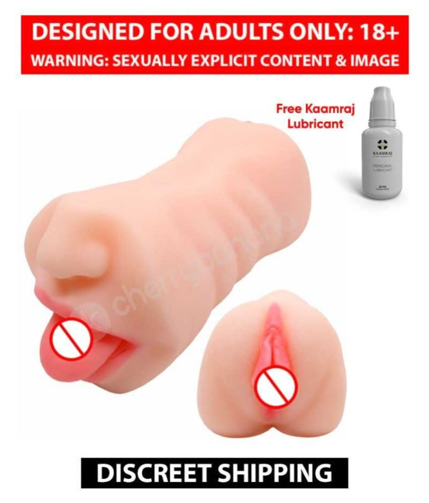 Male Masturbator Sex Toys 3D Realistic Vagina and Mouth with Teeth and Tongue Pussy Stroker Masturbation + Kaamraj Lubricant