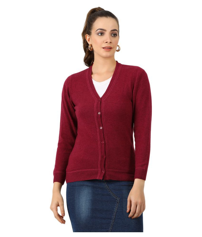 Monte Carlo Pure Wool Maroon Buttoned Cardigans