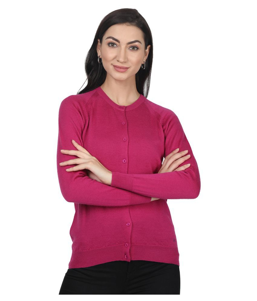 Monte Carlo Pure Wool Pink Buttoned Cardigans