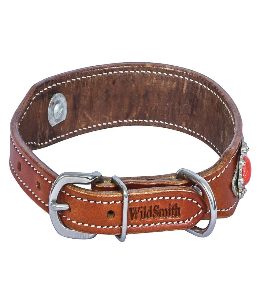 Wild Smith Geniune Leather Dog Collar with Hairon Leather Inlay Accented With Clear Stones
