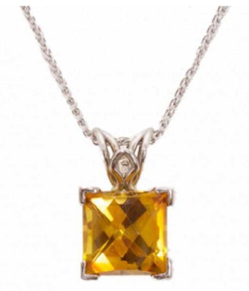5.5 Ratti Lab Certified Stone 100% Original Yellow Sapphire Silver Pendant without chain for unisex by Ratan Bazaar\n