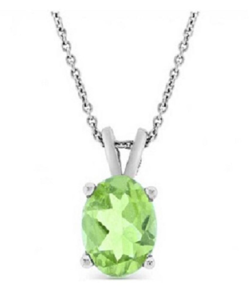 6 ratti Natural Peridot Stone Unheated Lab Certified pure Silver Pendant without chain by Ratan Bazaar\n