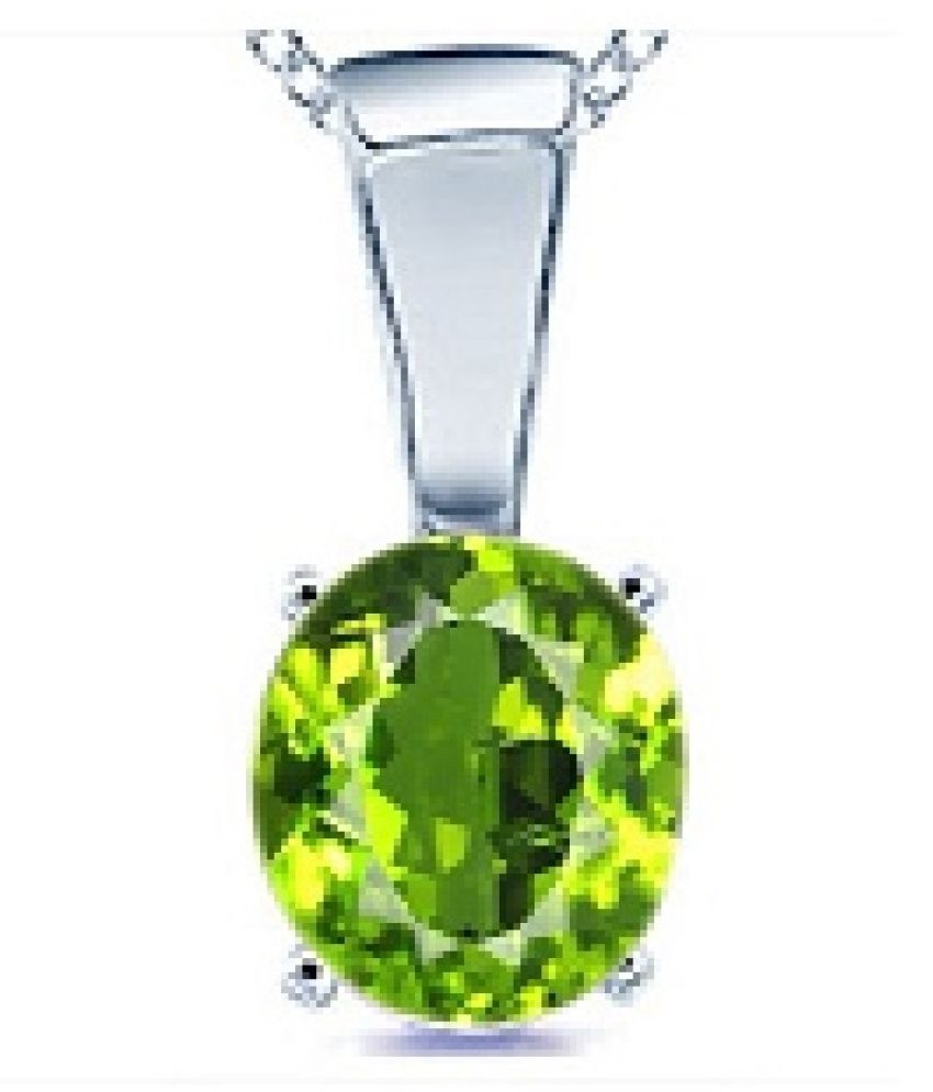9.5 Ratti Lab Certified Stone 100% Original Peridot Silver Pendant without chain for unisex by Ratan Bazaar\n