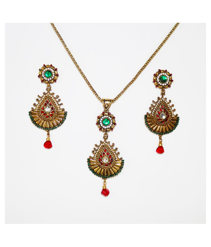 Abhiroopa Alloy Golden Matinee Contemporary/Fashion Gold Plated Necklaces Set