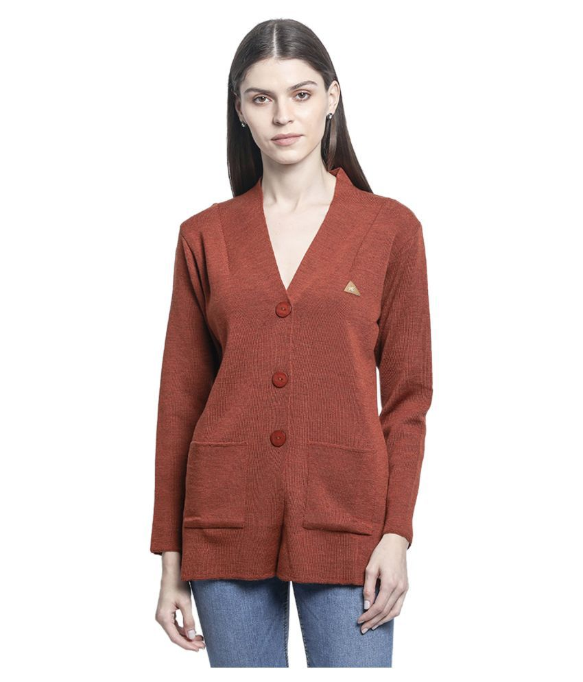 Monte Carlo Pure Wool Orange Buttoned Cardigans