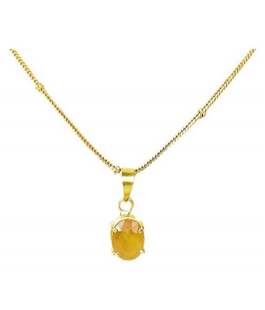 100% Natural 6 carat Yellow Sapphire Silver Pendant without chain by Ratan Bazaar\n
