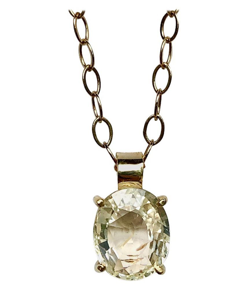 9 ratti Natural Yellow Sapphire Stone Unheated Lab Certified pure Silver Pendant without chain by Ratan Bazaar\n
