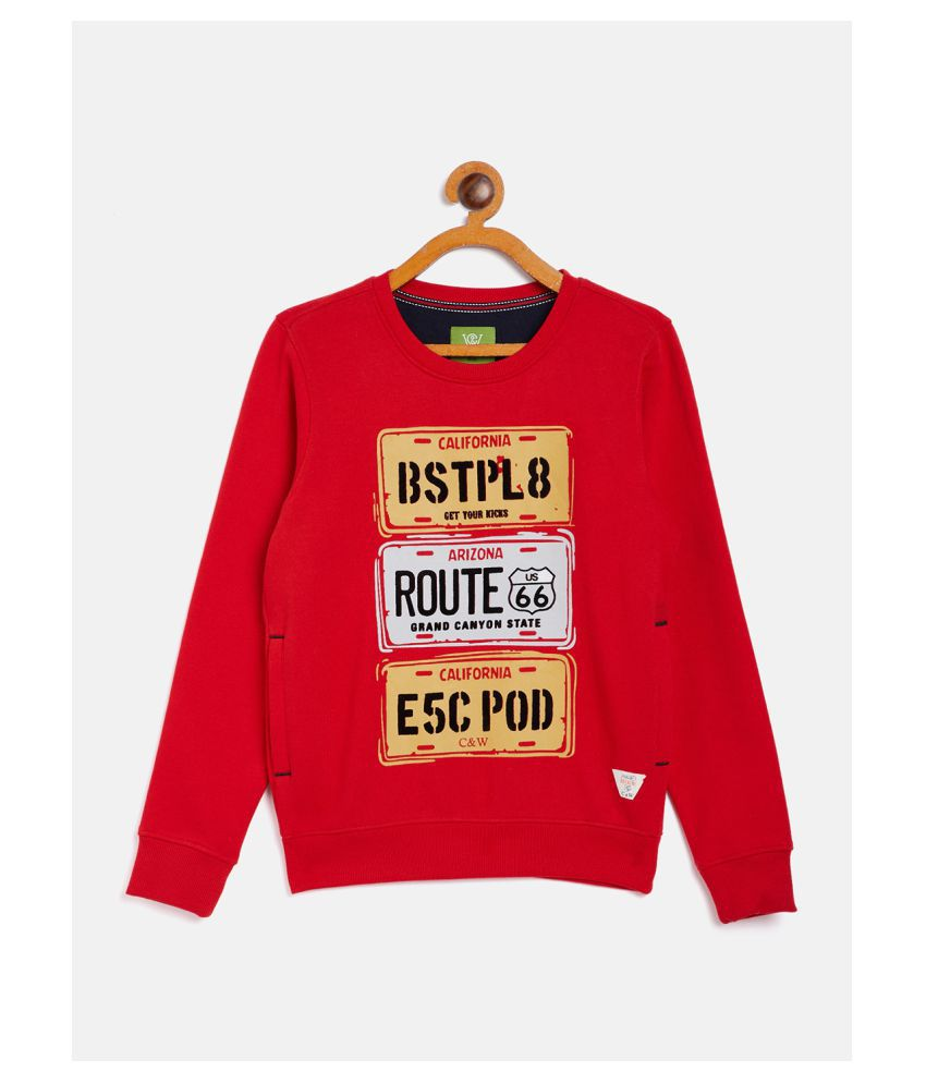COURSES & WALES Boy Kids 60% Cotton & 40% Polyester Round Neck Casual Winter Wear Red Size 30