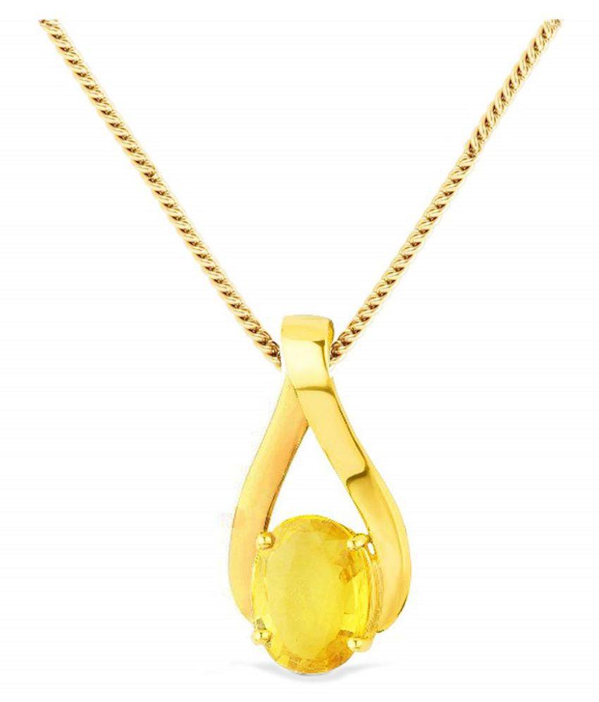 Yellow Sapphire Pendant 6 carat Round Cut Moti Locket without chain by Kundli Gems