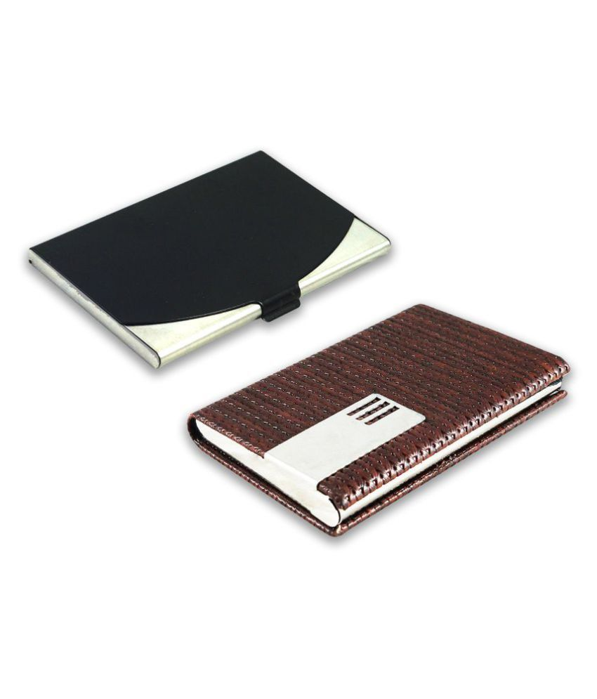 Auteur 5-17 Multicolor Artificial Leather Professional Looking Visiting Card Holders for Men and Women Set of 2 (upto 15 Cards Capacity)