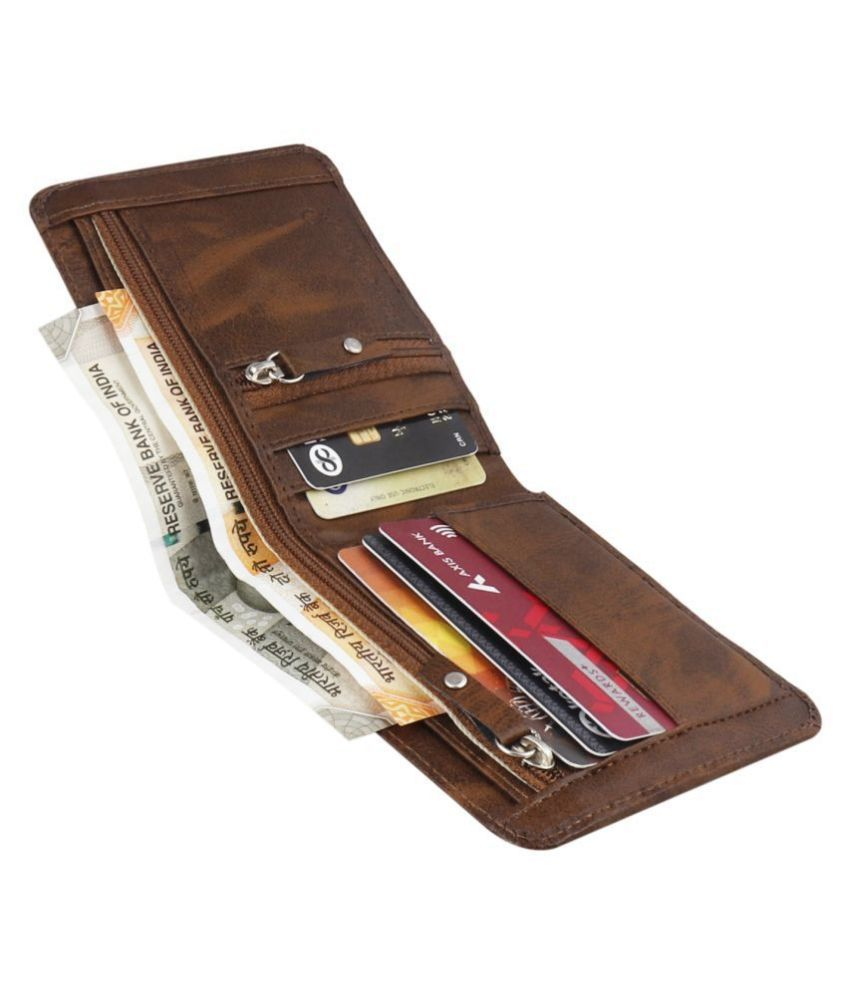 LUXQUE Faux Leather Brown Casual Regular Wallet