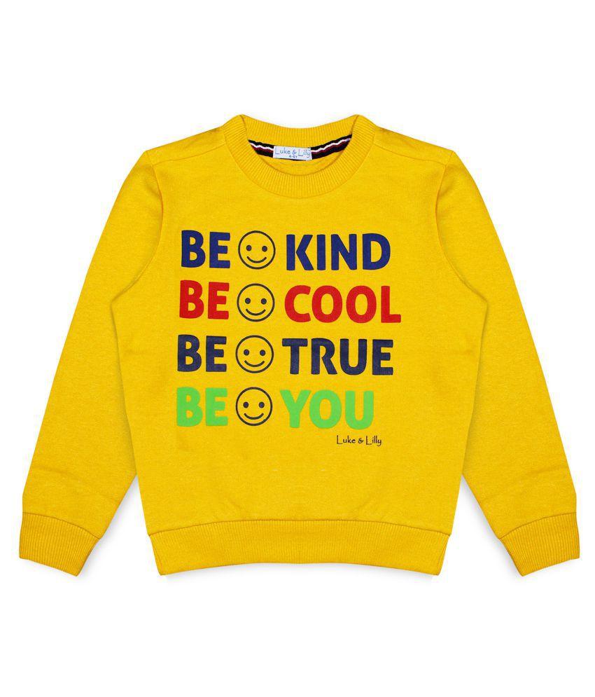 Luke and Lilly Boys Fleece FullSleeve Sweatshirt Yellow_Pack of 1