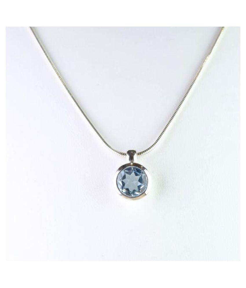 Silver Topaz Pendant 7 carat Locket without chain by Ratan Bazaar