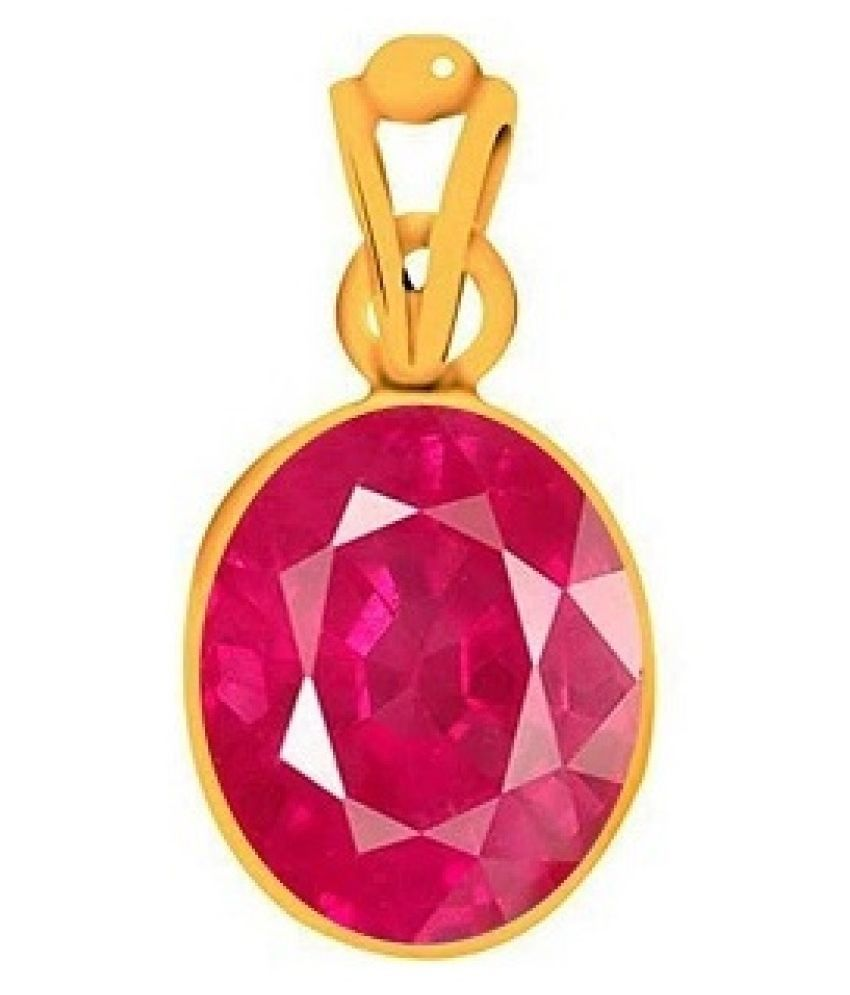 5 carat pure Ruby Gold Plated Pendant without chain by Kundli Gems\n