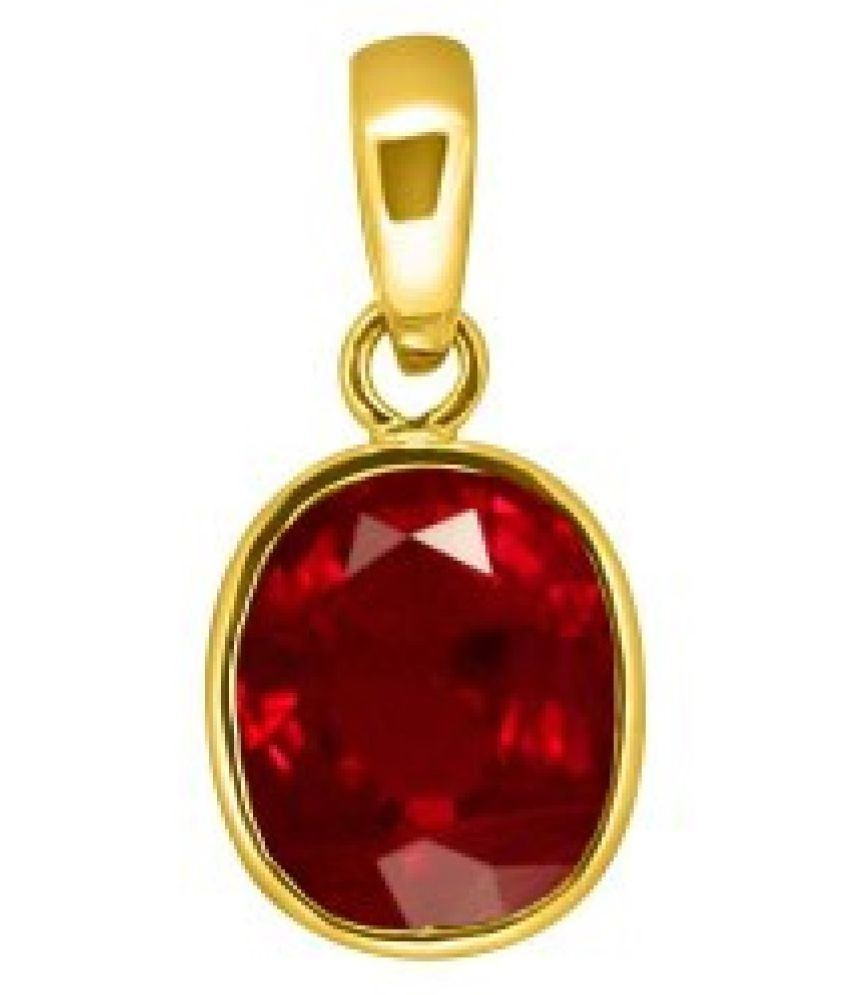 6.5 Carat Stone Ruby (Manik)Gold Plated Pendant without chain for unisex by Ratan Bazaar\n