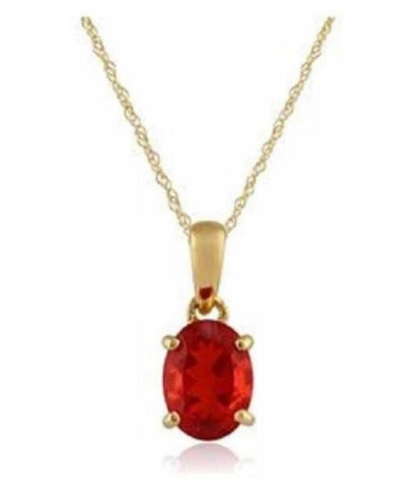 7 Carat Lab Certified White Gold Plated Ruby (Manik)Pendantwithout chain for unisex by Ratan Bazaar