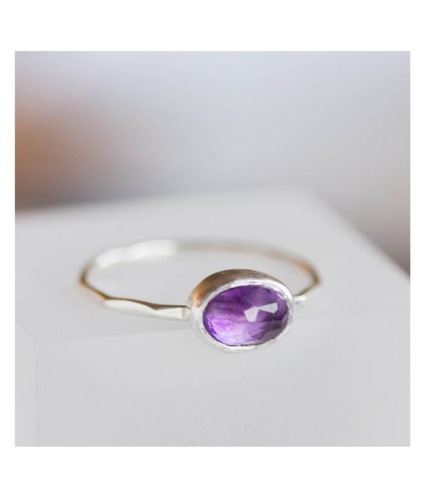 9 ratti Natural Amethyst(Jamuniya)  Stone Unheated Lab Certified silver Ring by Ratan Bazaar\n