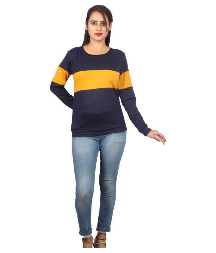 Bufzone Cotton - Fleece Blue Non Hooded Sweatshirt