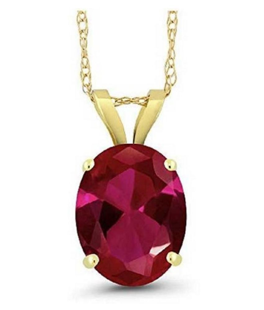 Gold Plated 9.5 Carat Classic Ruby Pendant without chain by Ratan Bazaar