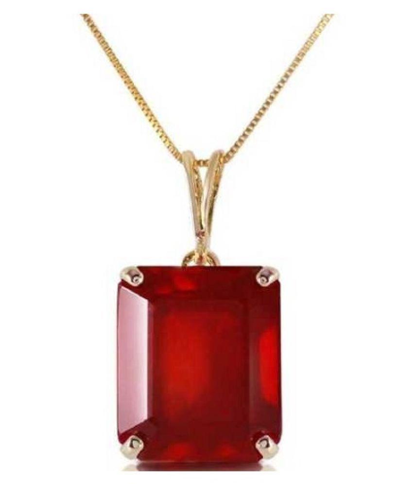 Gold Plated Ruby (Manik)Pendant 5.5 ratti Locketwithout chain by Kundli Gems