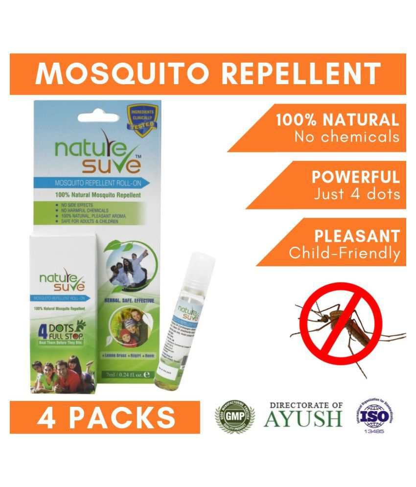 Nature Sure Mosquito Repellent Lotion Lemongrass, Nilgiri & Neem 28 mL Pack of 4