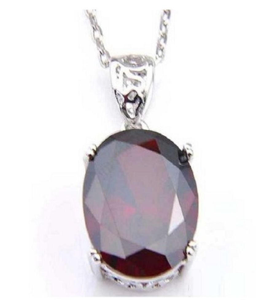 Pendant 9 ratti Natural Ruby  Silver Pendantwithout chain by Kundli Gems