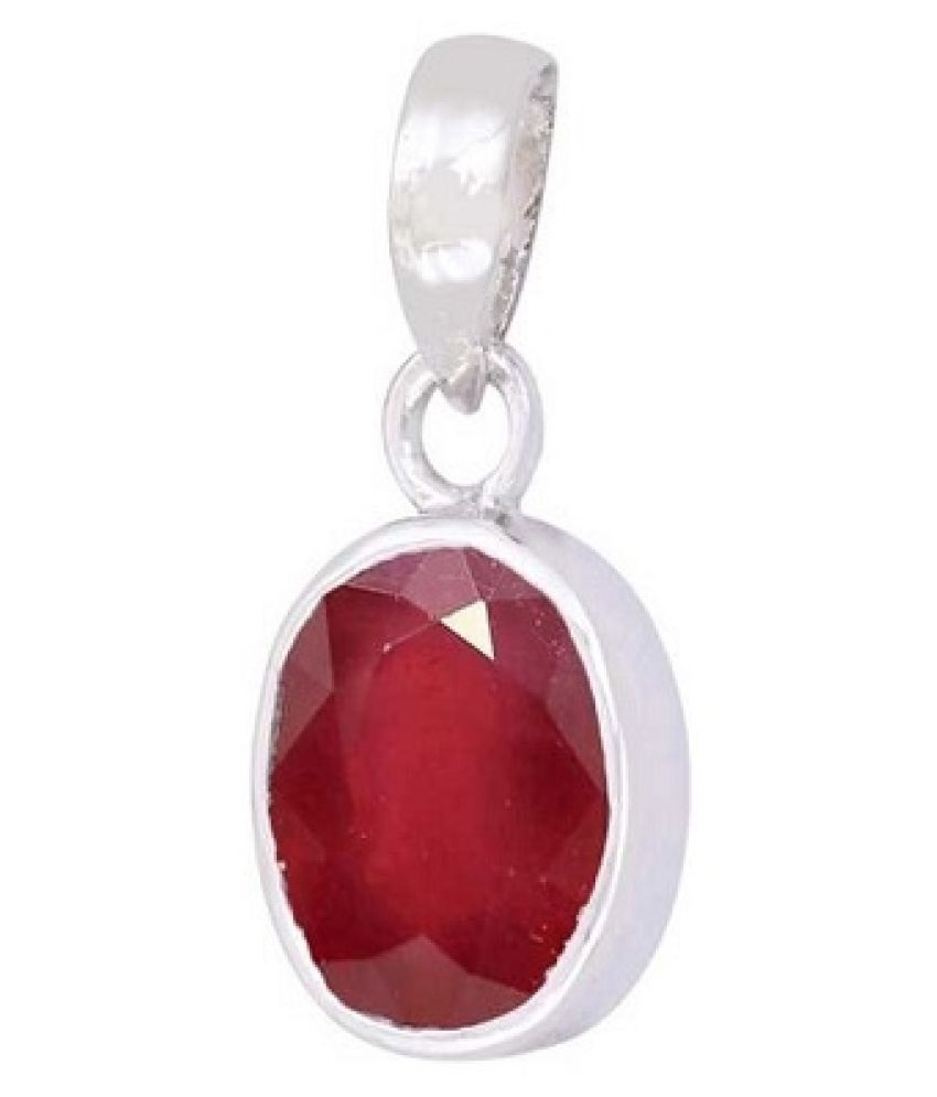 Ratan Bazaar-  6 Carat Ruby Pendant with Natural Ruby Stone Astrological & Lab Certified Silver Ruby Stone