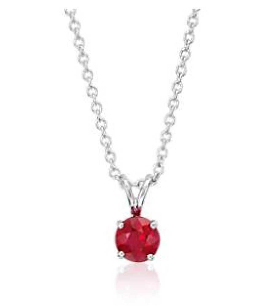 Ruby  original & lab certified 5.25 ratti silver Pendant without chain for astrological purpose by Ratan Bazaar\n
