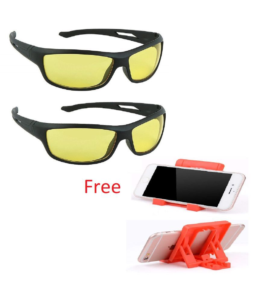 UV Protection Wrap Around Night Drive Men's and Women's Sunglasses with free chit chat mobile stand Pack of 2