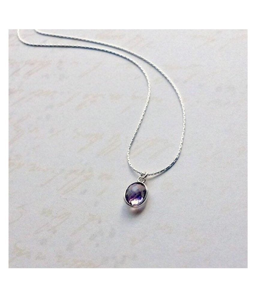 7 Ratti Amethyst(Jamuniya)Pendant With Natural Silver Stone Pendant without chain by Ratan Bazaar