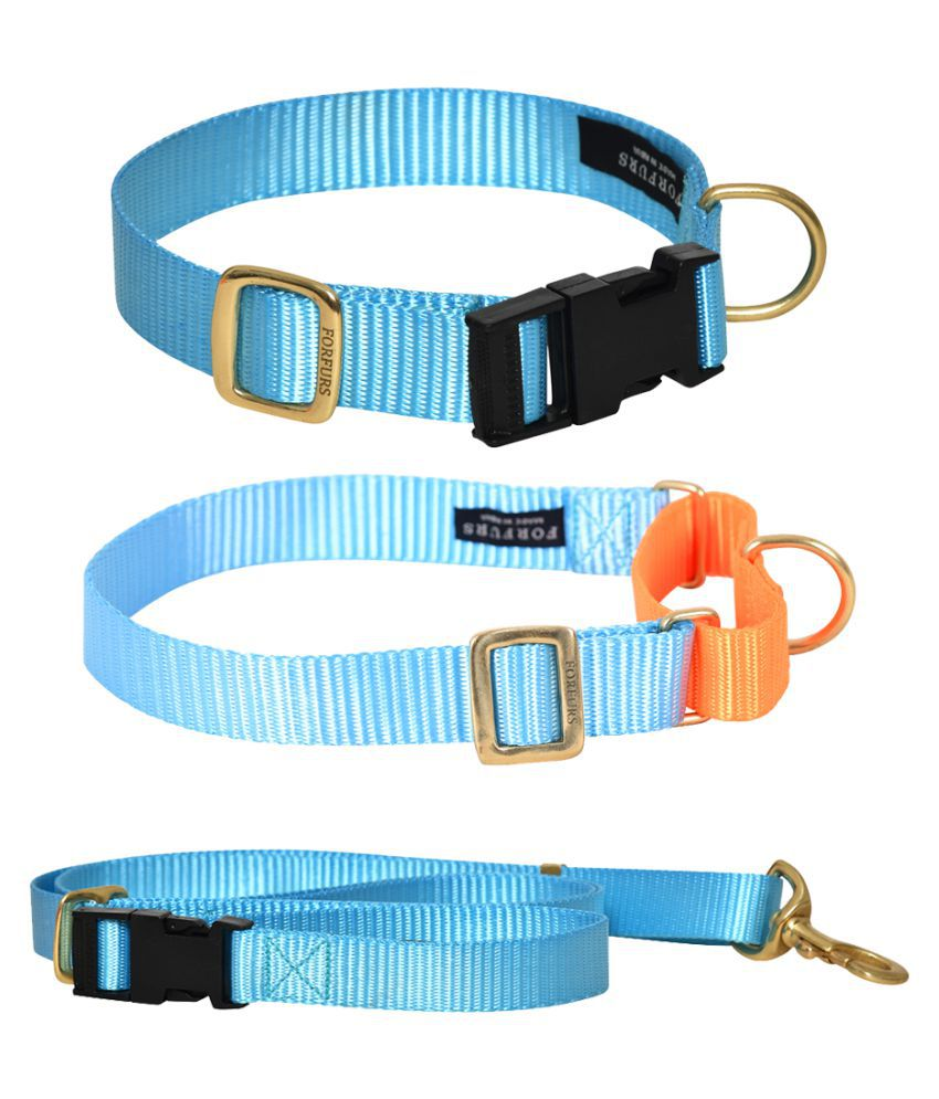 FORFURS Classic Snap Collar, Martingale Collar and Adjustable Leash Set (Small, 11-15 Inch, Cocktail Blue)