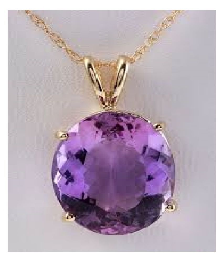Natural Lab Certified 9 carat 100% Original  Gold Plated Amethyst(Jamuniya)  pendant without chain for unisex by Ratan Bazaar\n