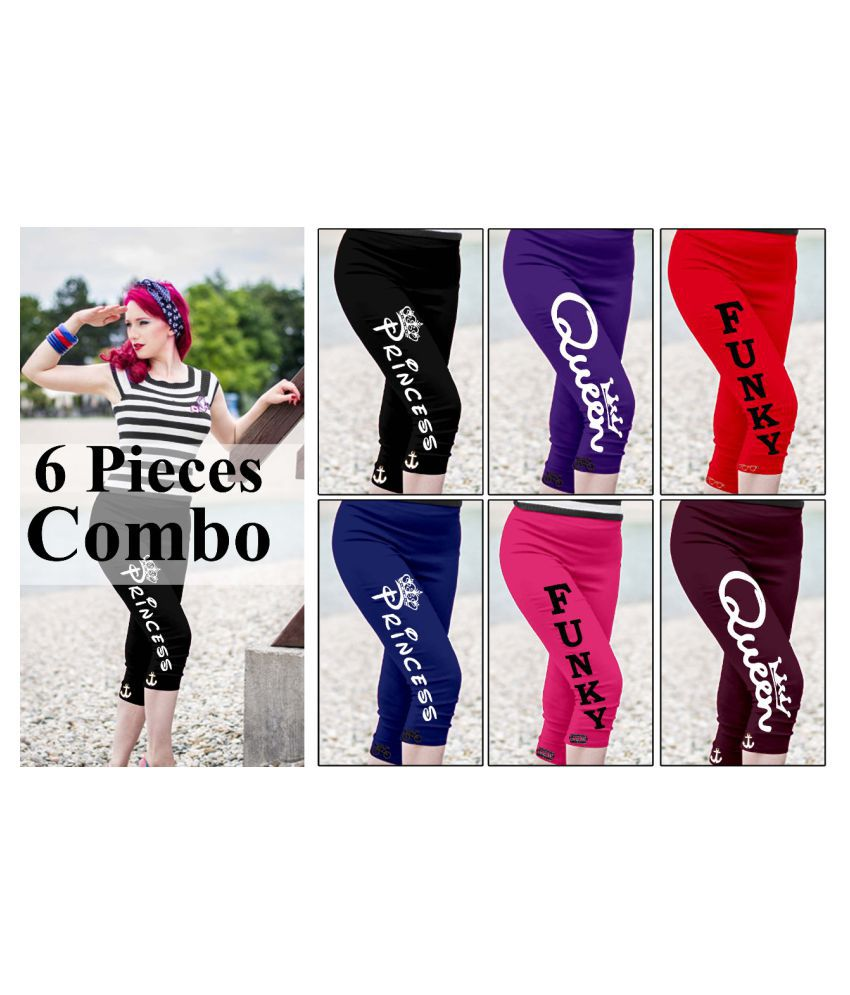 ailanis Black,Blue,Maroon,Red,Pink,Purple Cotton Printed Capri