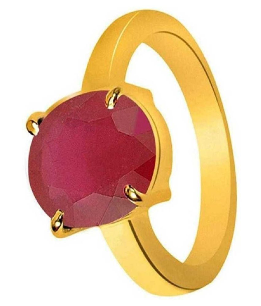 5 carat only  Ruby(Manik) Ring with Natural & Lab Certified gold plated by Ratan Bazaar